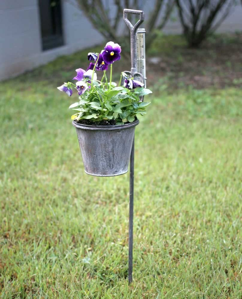 Spade Garden Stake Planter with Rain Gauge from Colonial Tin Works