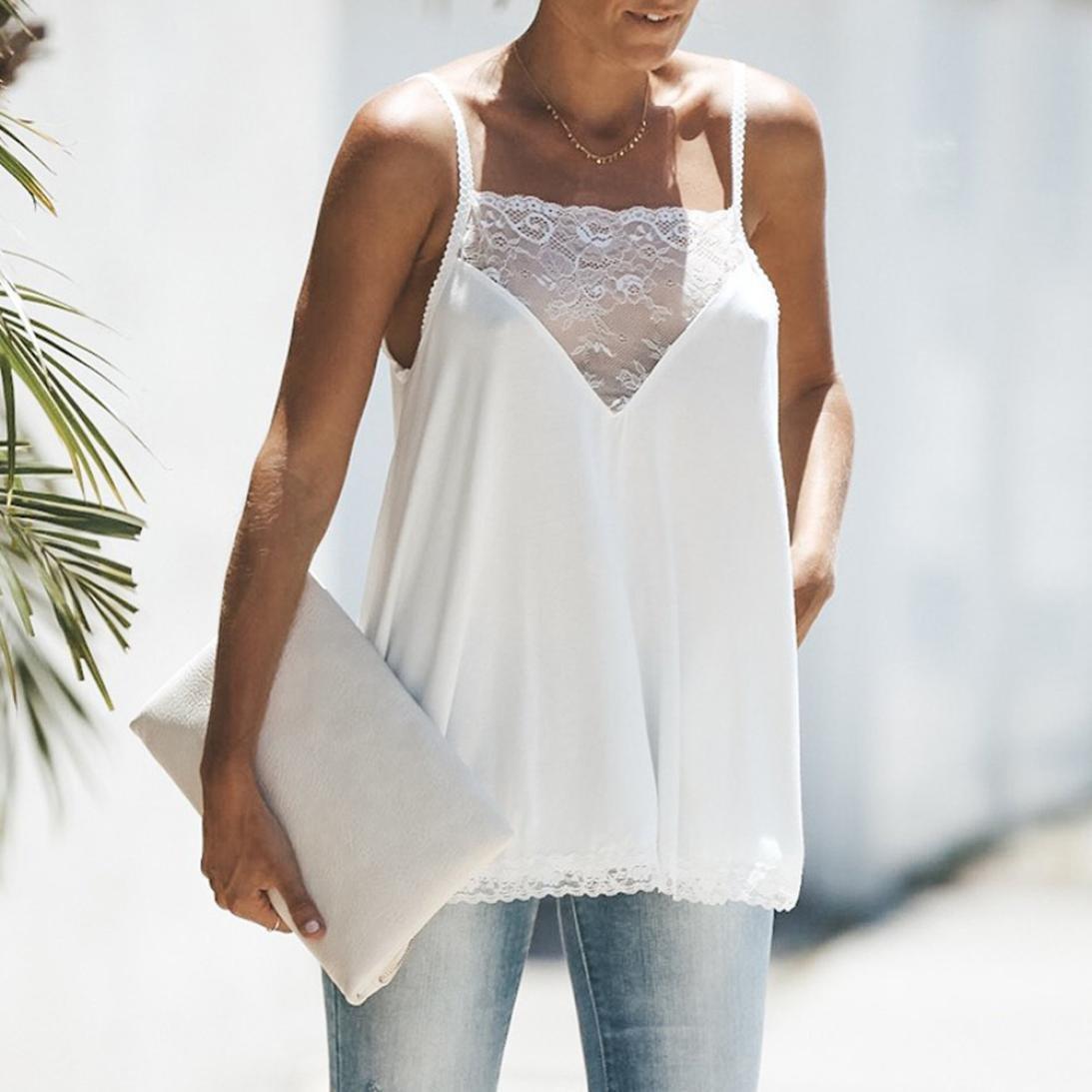 Longra Moda para mujer de encaje de algodón Sexy chaleco Camisola sin mangas camiseta Casual Tank: Amazon.es: Alimentación y bebidas