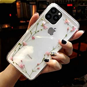 Shinymore iPhone 11 Floral Case Girls Women Sparkle Glitter Pressed Dry Real Flower Cover Flexible Soft Rubber Crystal Clear Case for iPhone 11(Pink Flower Frame)