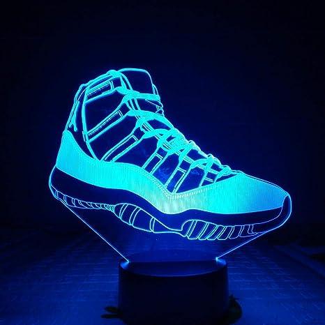 Hombres Jordan Zapatos Baloncesto Luz de noche Led 3D Ilusión ...
