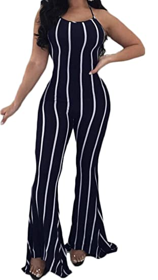 cdd89261839 Amazon.com  Sexy Striped Jumpsuit Women Sleeveless Backless Halter Long  Bell Bottom Pants Jumpsuit Rompers  Clothing