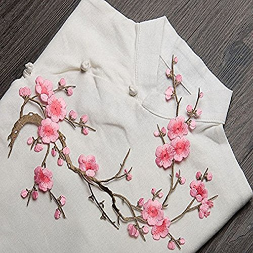 rosa ROSENICE Plum Blossom flor apliques bordado parche tela pegatina plancha en coser reparaci/ón de costura arte parche bordado