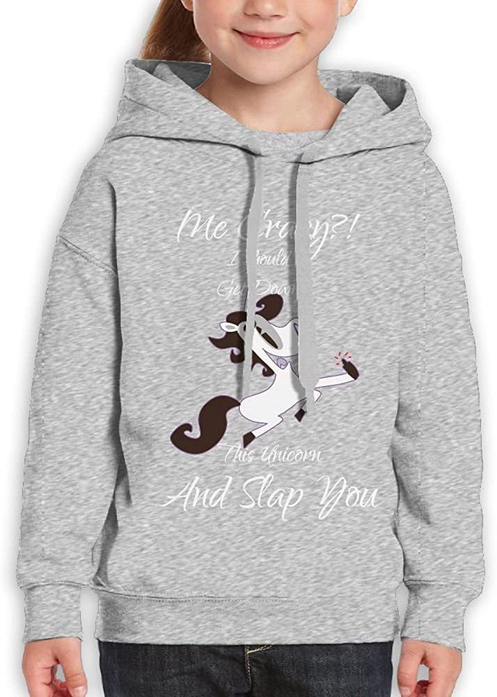 DTMN7 Crazy I should Get Down Off This Unicorn and Slap You Casual Printed O-Neck Sweatshirt For Teens Spring Autumn Winter