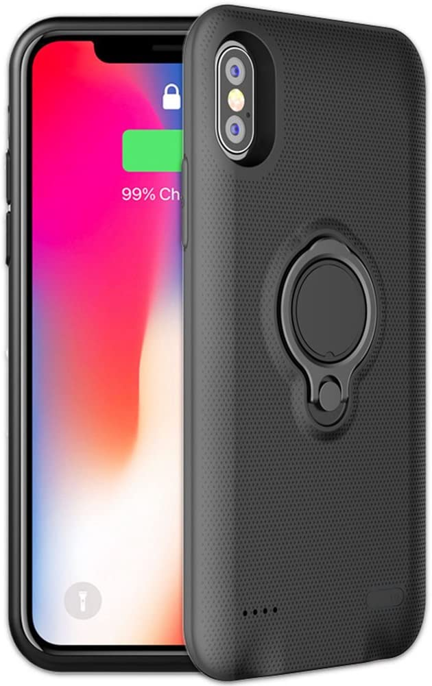 iPhone X Battery Case Veepax Premium 5000mAh Portable Charging Case for Apple iPhone X10 Rechargeable Extended Battery Pack with Car Holder Magnet