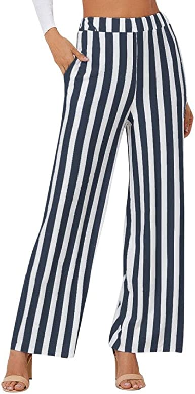 PAOLIAN Pantalones de Mujer Verano 2018 Casual Pantalones de Vestir Elegante Pantalones de Pinza Negocios Palazzo Pantalon Estampado Rayas Cintura Alta Mujer Pantalones Fluido Baggy: Amazon.es: Ropa y accesorios