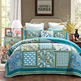DaDa Bedding Mediterranean Fountain Bohemian Reversible Cotton Real Patchwork Quilted Coverlet Bedspread Set - Bright Vibrant Floral Paisley Turquoise Teal Blue Green Print - Cal King - 3-Pieces