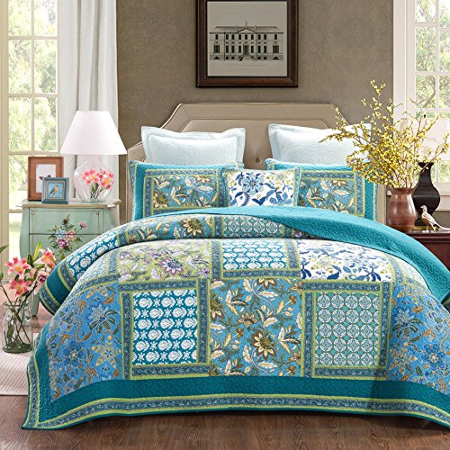 Gypsy Floral Bedding Collection (DaDa Bedding Mediterranean Fountain Bohemian Reversible Cotton Real Patchwork Quilted Coverlet Bedspread Set - Bright Vibrant Floral Paisley Colorful Turquoise Teal Blue Green Print - King - 3-Pieces)