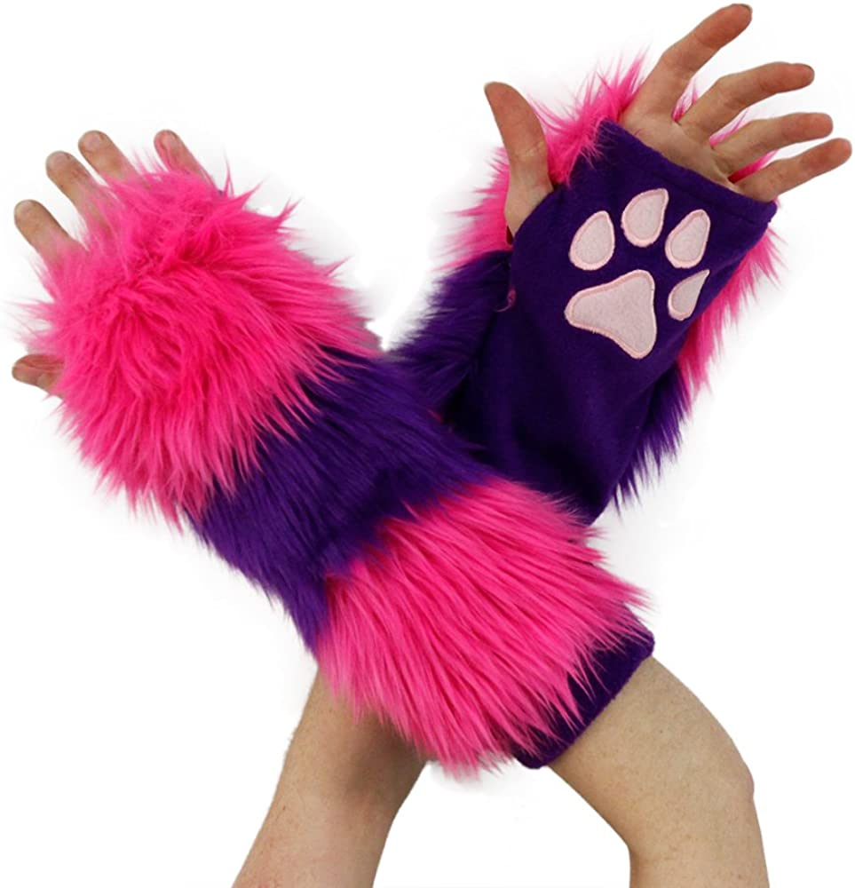 Pawstar Furry Cheshire Cat Striped Paw Warmers Arm Fingerless Gloves