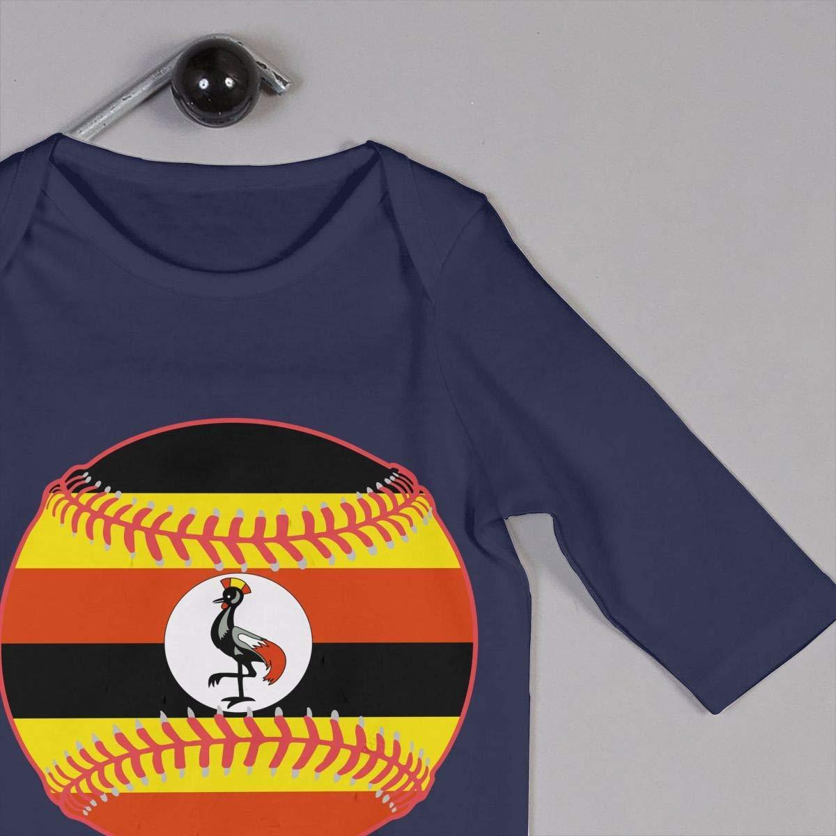 TYLER DEAN Newborn Baby Long Sleeved Coveralls Uganda Flag Baseball Clipart Toddler Jumpsuit