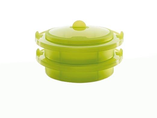 Lékué Vaporera Doble Verde 2 Niveles, Silicona, 22 cm