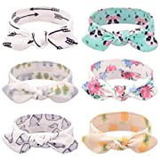 Baby Headbands Turban Knotted, Girl's Hairbands for Newborn,Toddler and Childrens (6Pcs Rabbit Ears)