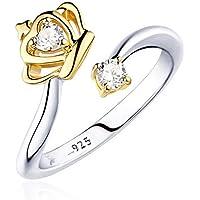 fablcrew mujeres anillo moda corona de cristal
