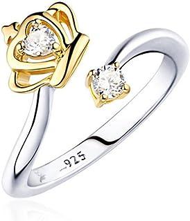 BIGBOBA Oro Anelli per ragazze regolabili semplice zircone Forma di rosa anello da donna,Regalo per Ragazza,Regalo di san valentino