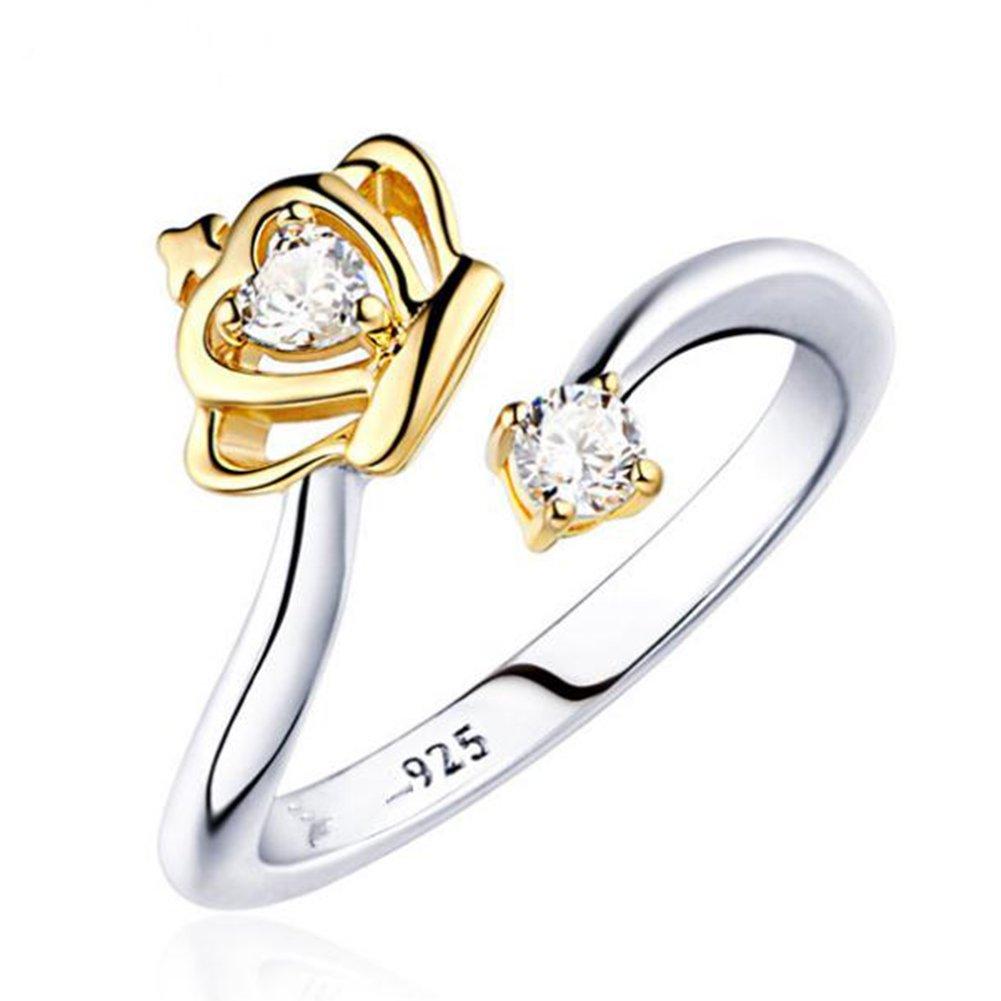 BIGBOBA élégant Femme Bague Creative élégant Couronne réglable Ouverture Cristal Bague Diamant Mariage Bijoux Accessoires