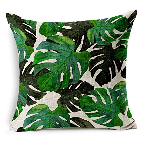 HACASO 18 X 18 Inch Cotton Linen Decorative Throw Pillow Cover Cushion Case Tropical Forest Print Pillowcase(1)