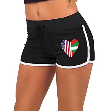 Half Basque Flag Half USA Flag Love Heart Womens Sexy Hot Pants Gym Workout  Shorts at Amazon Women s Clothing store  d41ef7d12e