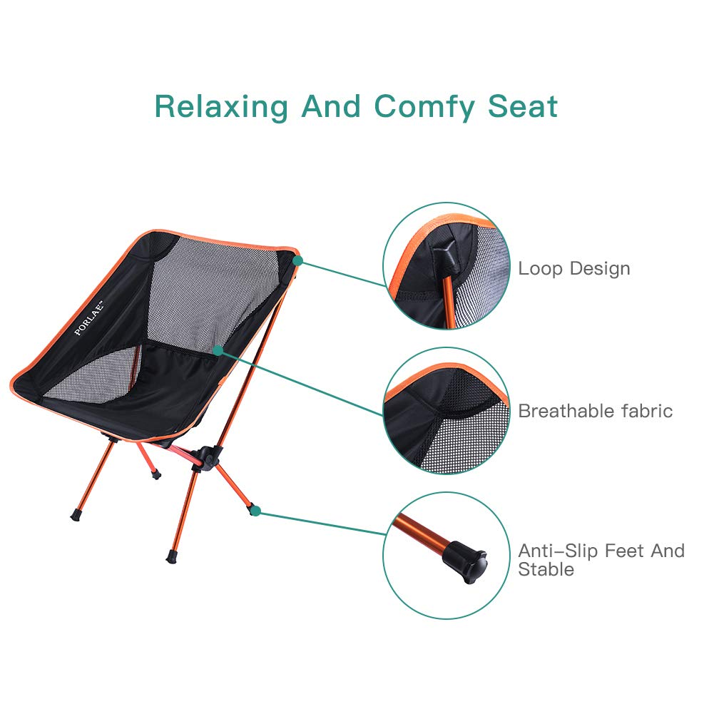 Backpacking Picnic Hiking Lightweight Compact Folding Outdoor Chair Portable Chair Breathable Comfortable for Camping