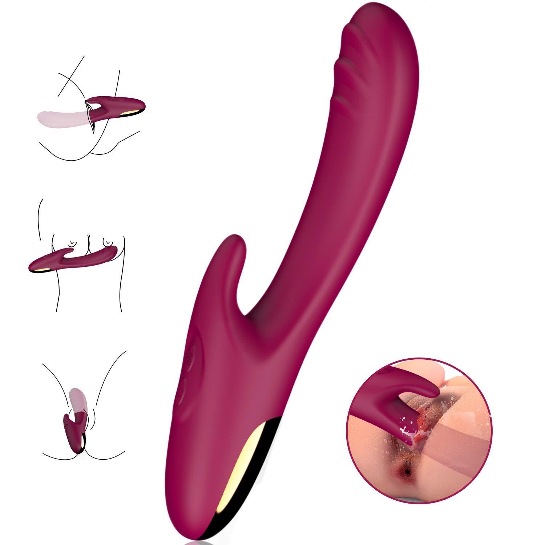 G Spot Rabbit Vibrator for Clitoris Stimulation, Waterproof Rechargeable Dildo Vibrator Clit Stimulator with 30 Vibration Modes Quiet Dual Motor Vibrators for Women Couple Adult Sex Toy Gift -Wine Red