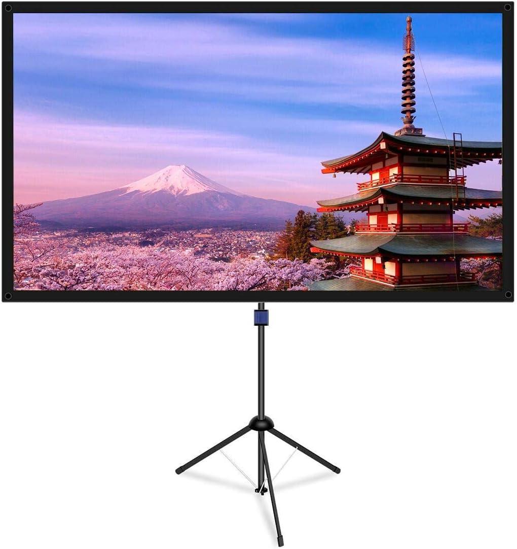 改良新版 4K対応 プロジェクタースクリーン 自立式 携帯型 三脚式 屋内屋外兼用 最大80型 16:9 視野角160° 防しわ加工 お手入れ簡単