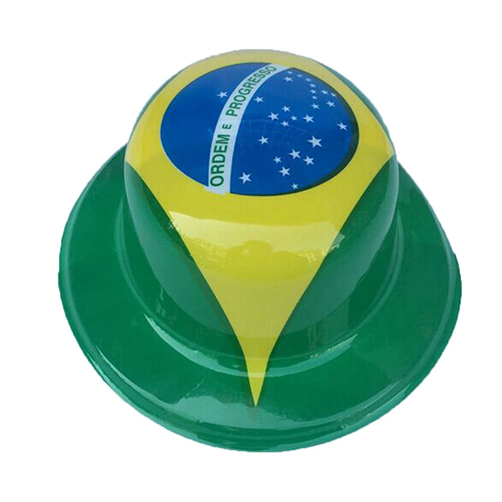 Etbotu Brazil Flag Plastic Hat, Best Choice for Party and Carvinal, Good Gift for Children