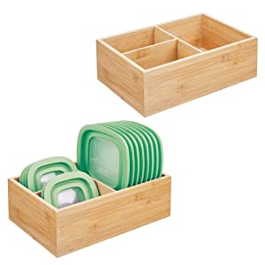 mDesign Bamboo Wood Kitchen Storage Bin Organizer for Food Container Lids and Covers - Use in Cabinets, Pantries, Cupboards - Large Divided Organizer with 3 Sections, 2 Pack - Natural