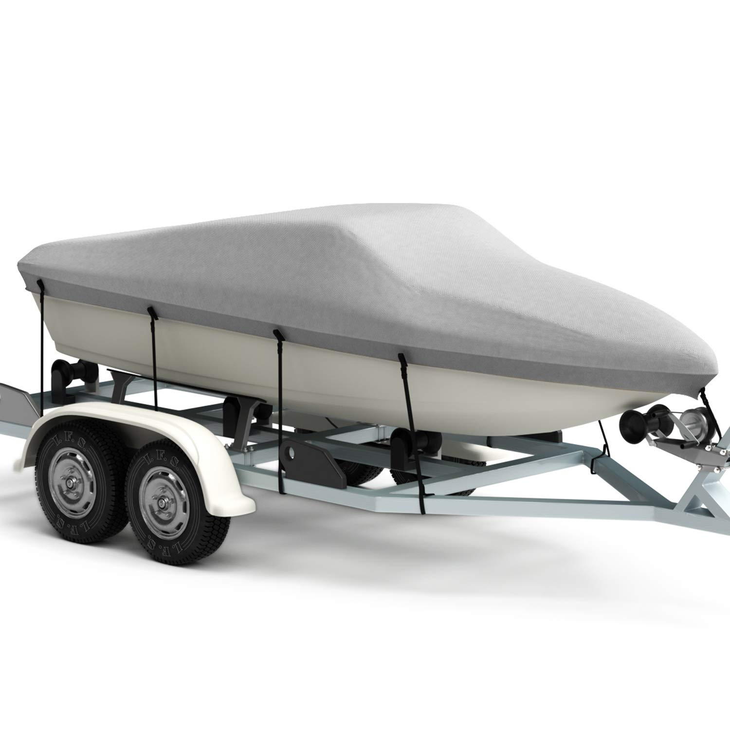 Kohree Trailerable Runabout Boat Cover Fit V-Hull Tri-Hull Fishing Ski Pro-Style Bass Boats,Heavy Duty 600D Polyester 14~16x68 Heavy Duty 600D Polyester 14/'/'~16/'/'x68/'/'