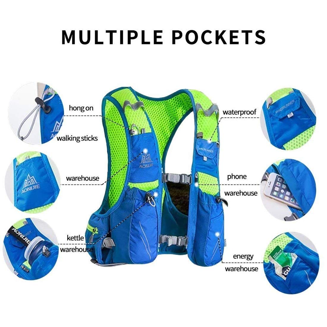 Aonijie Hydration Backpack 10l Running Vest Pack With Waist Bag Blue Green Water Bottle 2l Bladder For Hiking Camping Bicycling Black L Xl Sports