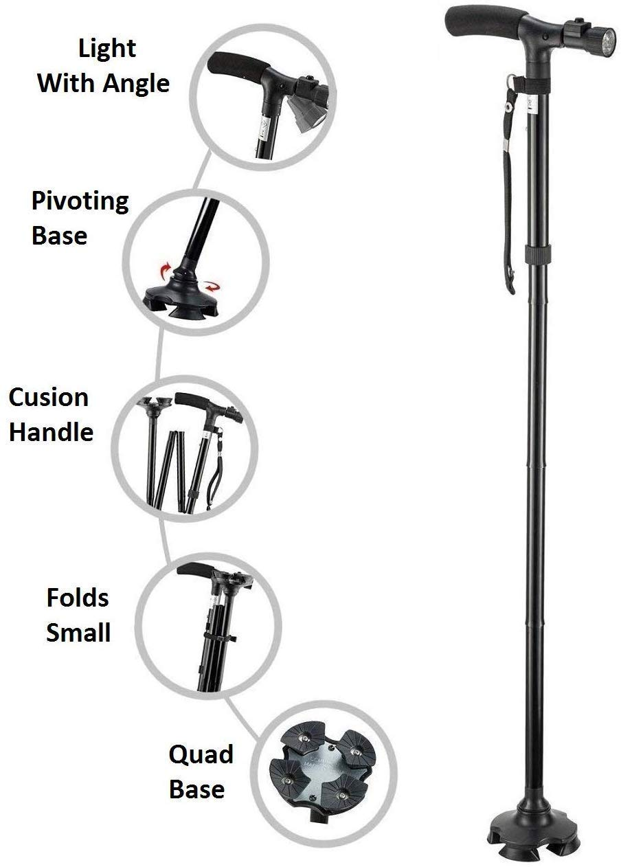Figment Portable Aluminium Alloy Handle Dependable Professional LED Light Folding Walking Stick For Old Gentleman, walking sticks for old people (B0834XW66R) Amazon Price History, Amazon Price Tracker