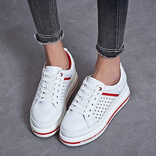 De Lvyuan Ocasional Libre Patente Carrera Al Y La Aire Cuero Respiración Blancos Oficina Las Flatform Comodidad Mujeres Zapatos Depor Red Talón Manera Plano Zapatillas apYpOEr