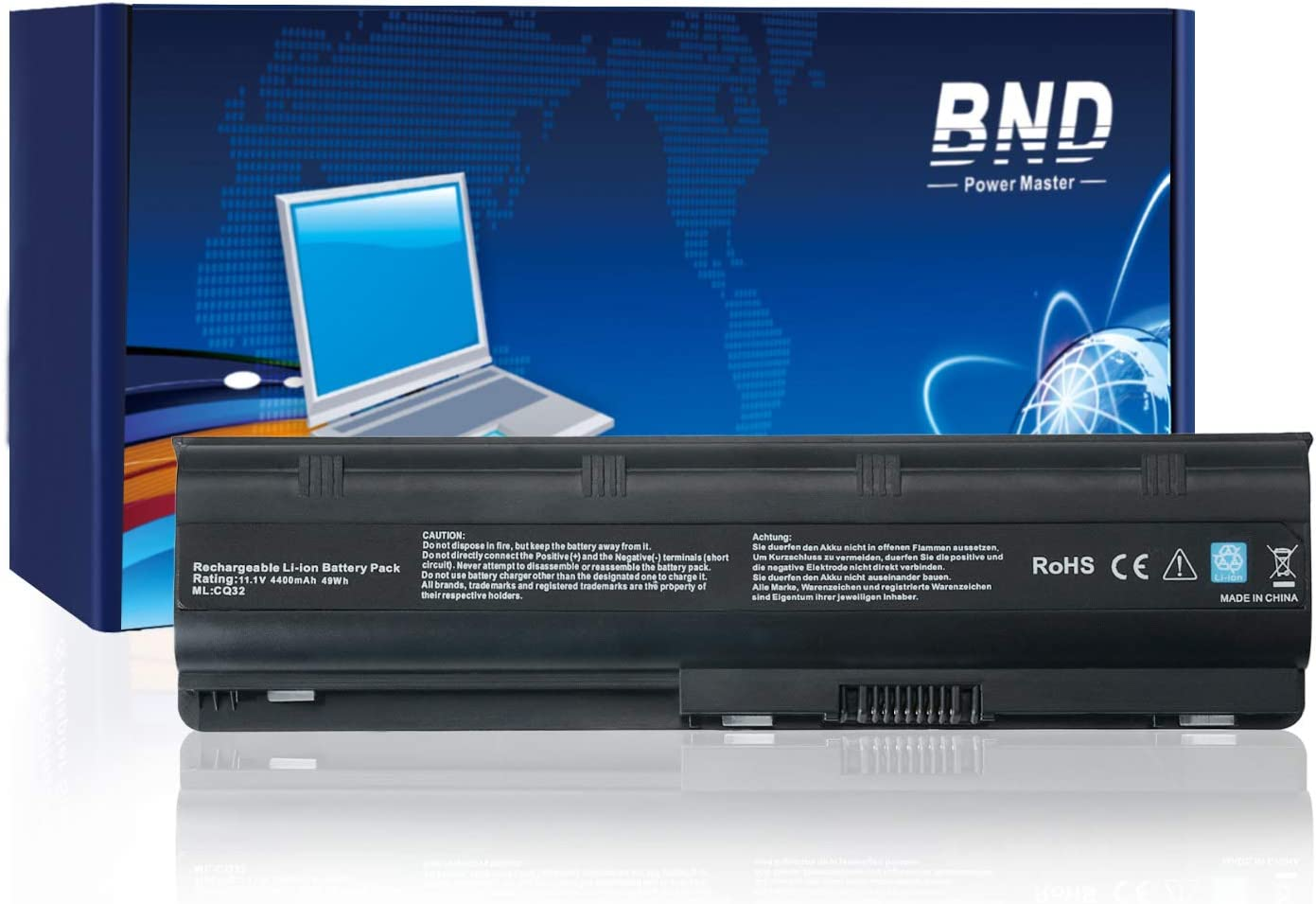 BND 593553-001 Laptop Battery Compatible with HP 593554-001 MU06 MU09 636631-001 WD548AA 586006-321 593550-001 593562-001 HSTNN-LB0W HSTNN-UB0W HSTNN-CBOW - [6-Cell 4400mAh/49Wh]