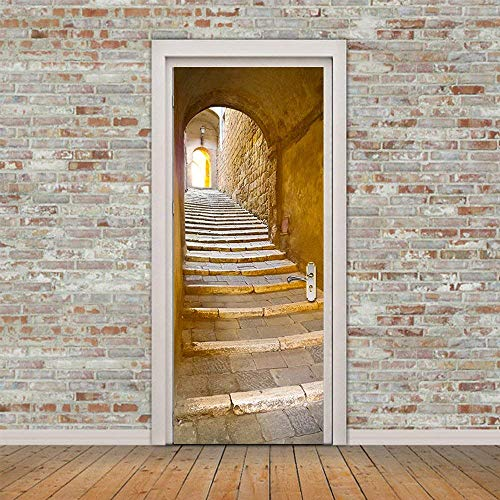 3d Door Wall Mural Wallpaper Stickers [ European Stone Steps Stone Stairs in a remote alley in the picturesque medieval town ] Mural Door Wall Stickers Wallpaper Mural DIY Home Decor Poster Decoration