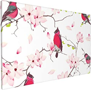 Canvas Wall Art Home Decorations, Cute Red Bullfinches Wall Decor Artwork for Walls, Wall Decorations for Living Room Bedroom Frameless Wall Hanging Decor Paintings 18x12 Inch
