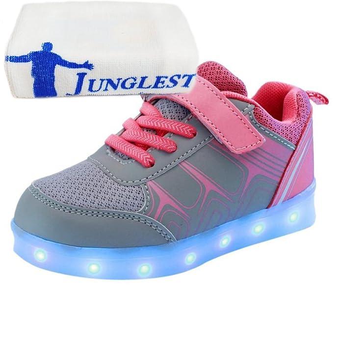 (Present:kleines Handtuch)Gelb EU 37, Sportsschuhe Sneakers mode LED Fluorescence Klettverschluss Light