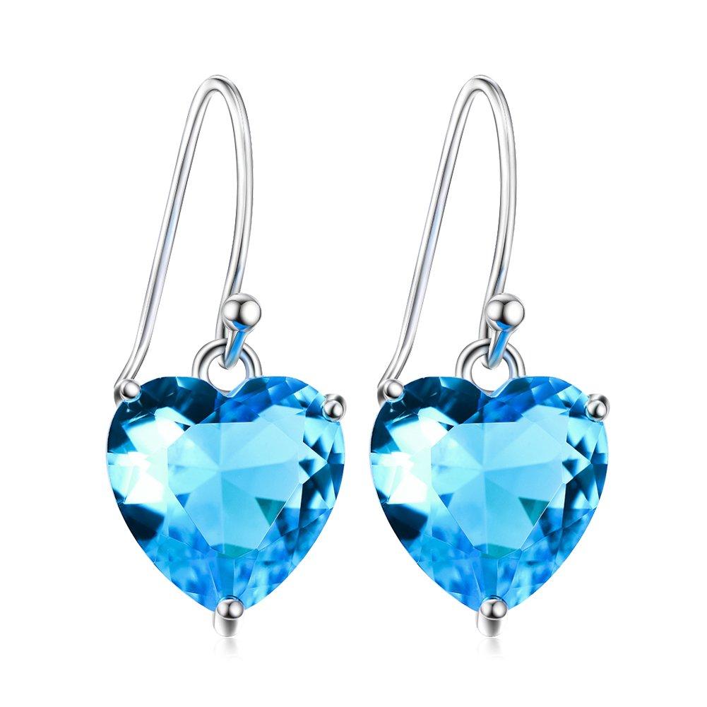 Blue Heart Crystal Earrings Sterling Silver Heart Shape Dangle Earrings Fine Jewelry for Women Girls