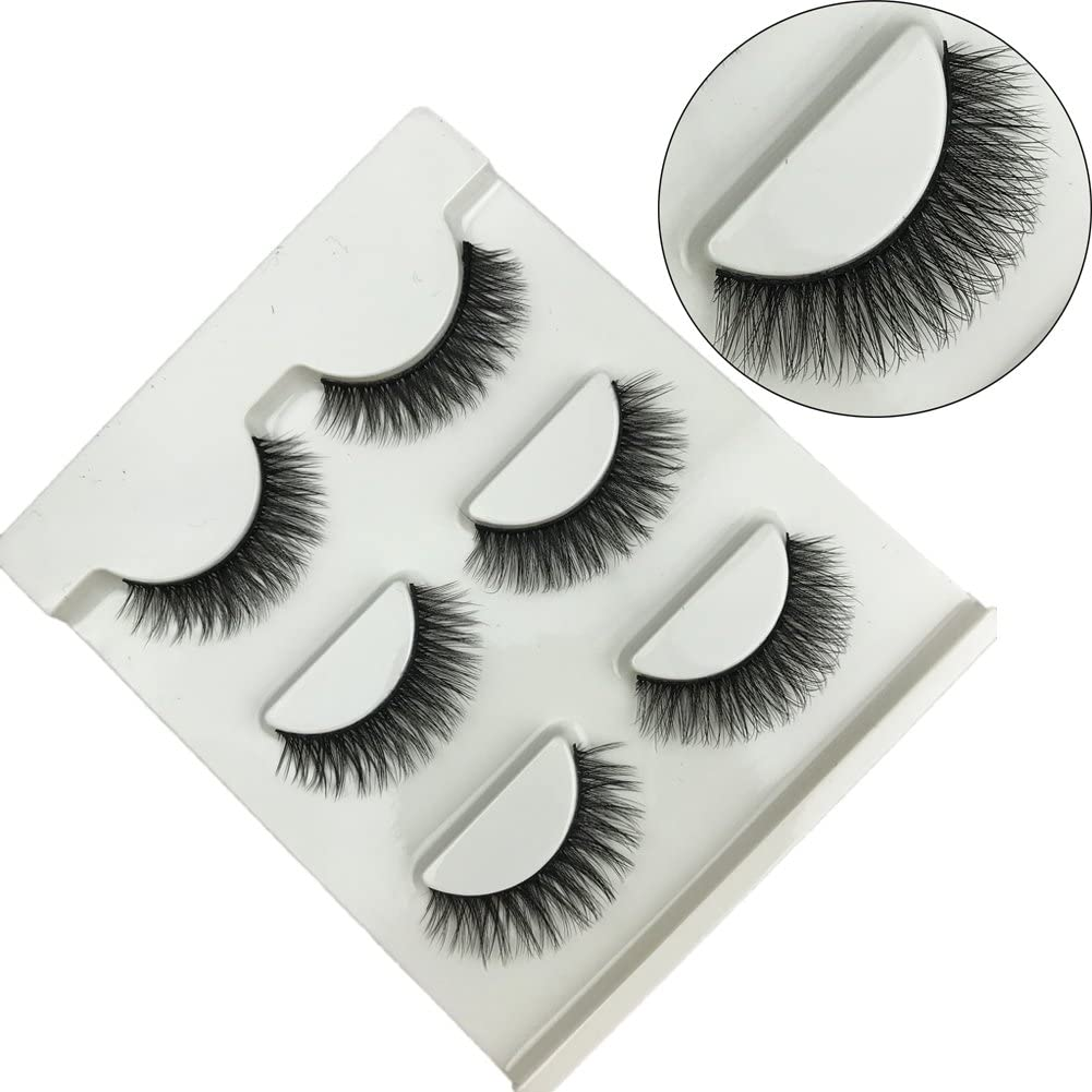 3pares negro largo gruesas falsas pestañas extensión de pestañas naturales ojo 3d cruz moda magnético para maquillaje