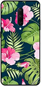For OnePlus 7T Pro Case Cover Pink Flowers Greean Leave & Feathers