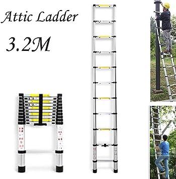 3.2M / 10.5FT telescópica Loft escalera de aluminio ático de escalera extensible, la carga máxima de 150 kg, EN131 estándar dljyy: Amazon.es: Bricolaje y herramientas