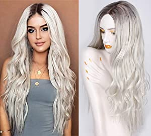 AISI QUEENS Platinum Blonde Wig Synthetic Long Curly Wavy Wig 28 inch Middle Parting Wig Ombre Color Wig for Women Daily Party Full Wigs