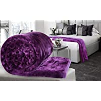 Craftscity Soft Korean Heavy Duty Microfiber Indian Mink Blanket for Double Bed (Purple)