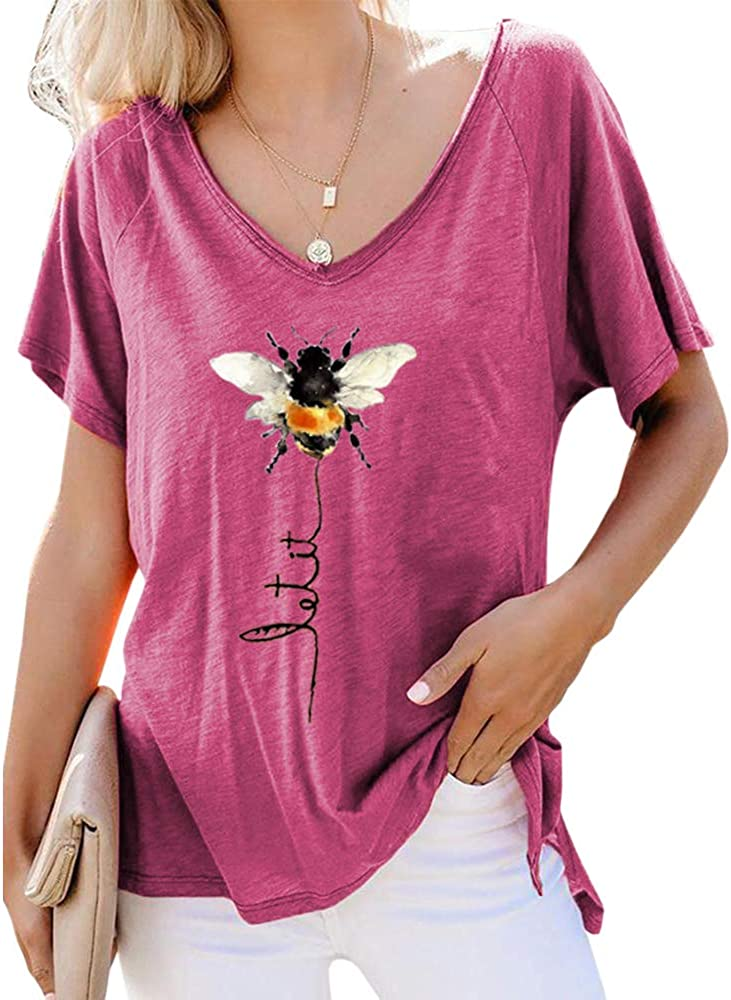 Pfvkeree Women Cute Let It Bee Casual T Shirt Funny Graphic Letter Short Sleeve V Neck Loose Blouse Tee