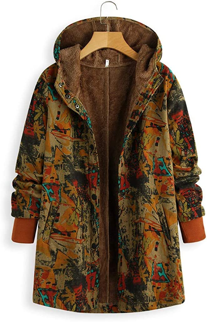 OTTATAT Thicken Coats for Women,2019 Autumn Winter Lady Hooded Warm Solid Printing Patchwork Button Pocket Outwear