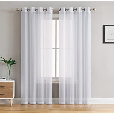 HLC.ME 2 Piece Sheer Voile Window Curtain Grommet Panels Bedroom & Living Room (54  W x 84  L, White)