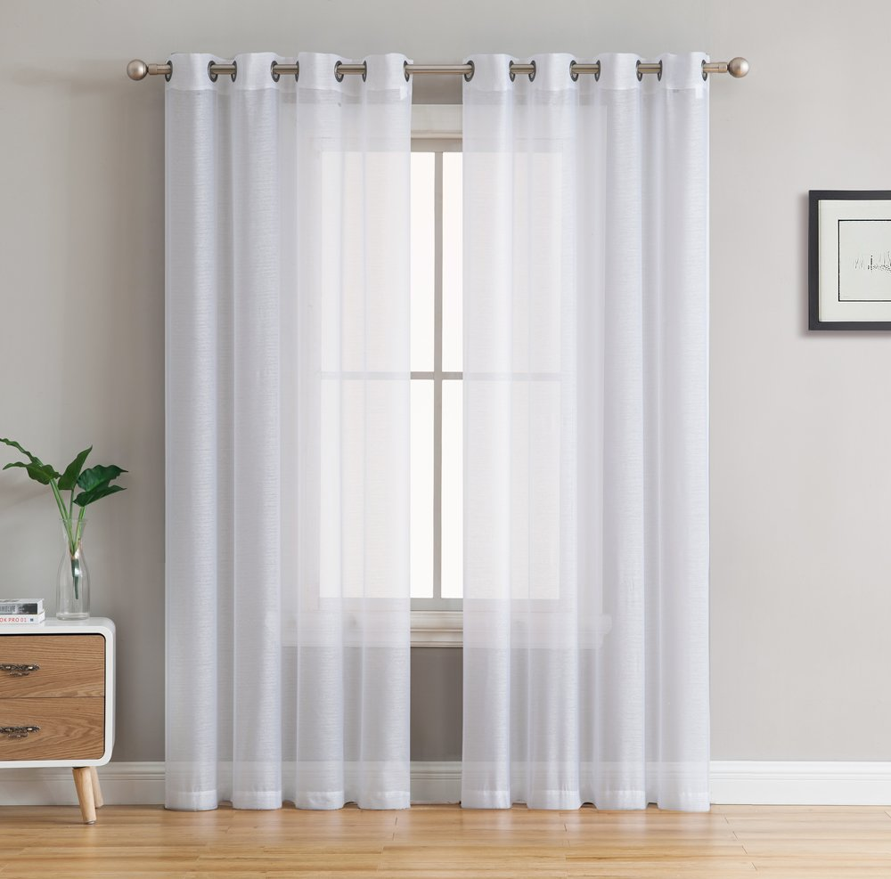 HLC.ME 2 Piece Semi Sheer Voile Window Curtain Drapes Grommet Panels for Bedroom, Living Room & Kids Room (54'' W x 90'' L, White)