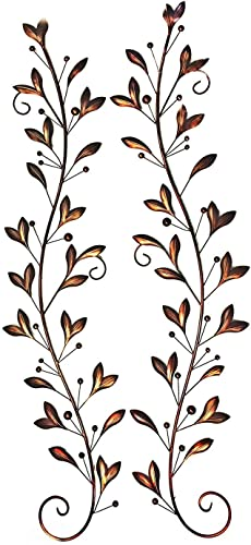 Bellaa 21932 Metal Wall Art Olive Over The Door Decor Set Two Big 58 inch Brown 21932