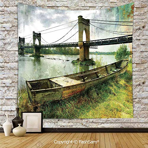 FashSam Tapestry Wall Hanging Bridge and Old Boat