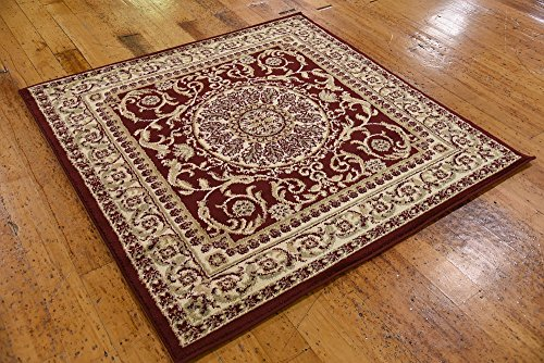 Unique Loom Versailles Collection Traditional Classic Red Square Rug (4' 0 x 4' 0)