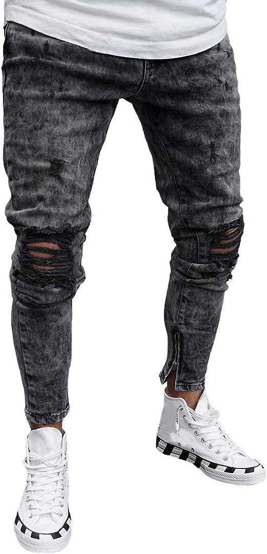 Men/'s Stretchy Skinny Biker Jeans Destroyed Straight Slim Fit Denim Pants displa