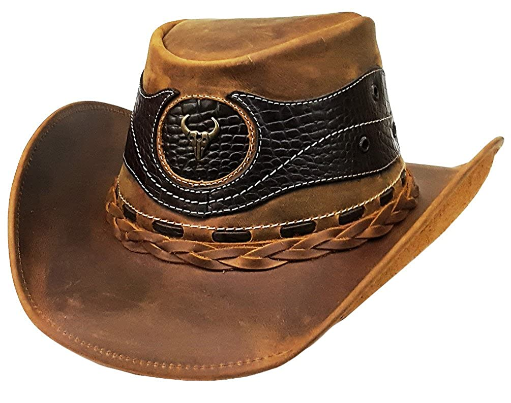 Modestone Weathered Antiqued Leather Cowboy Hat Crocodile Skin Pattern  Applique at Amazon Men s Clothing store  ecb80dfb99c