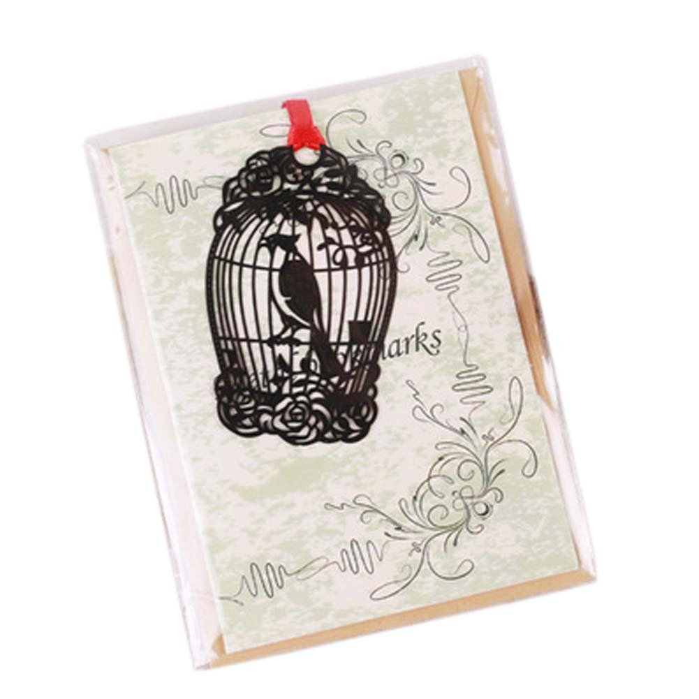 3 Pcs Hollowed-out Black Metal Bookmark Classical Chinese Style Retro Bookmarks Gift, Birdcage