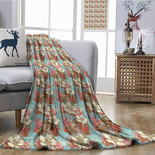 SONGDAYONE Blanket Abstract Anti-Pilling Blanket Vintage Color Scheme with Floral Arrangement Wildflowers Foliage Valentines Day Multicolor W60 xL80